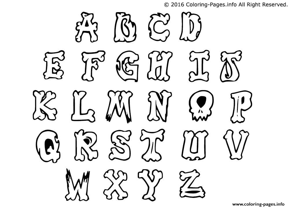 graffiti alphabet simple letters coloring pages printable