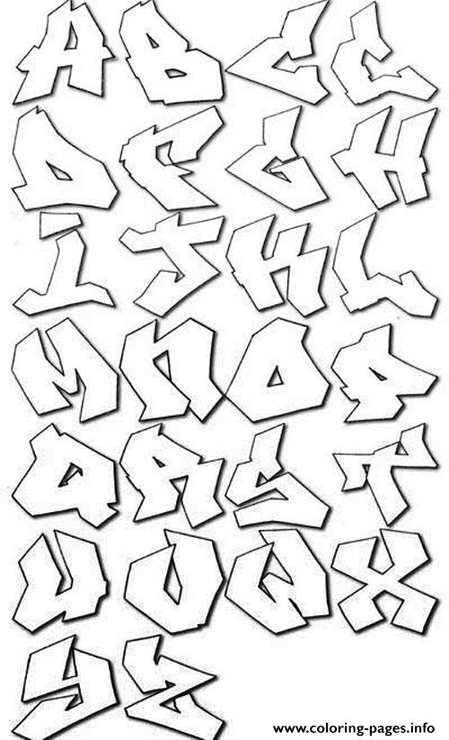 Graffiti Alphabet Bubble Letters Coloring Pages Printable