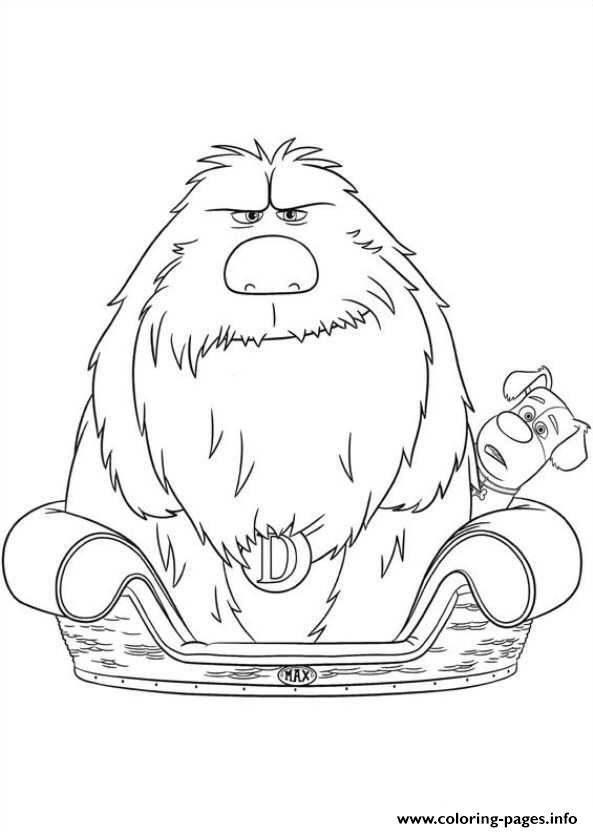 Duke in max bed secret life of pets coloring pages