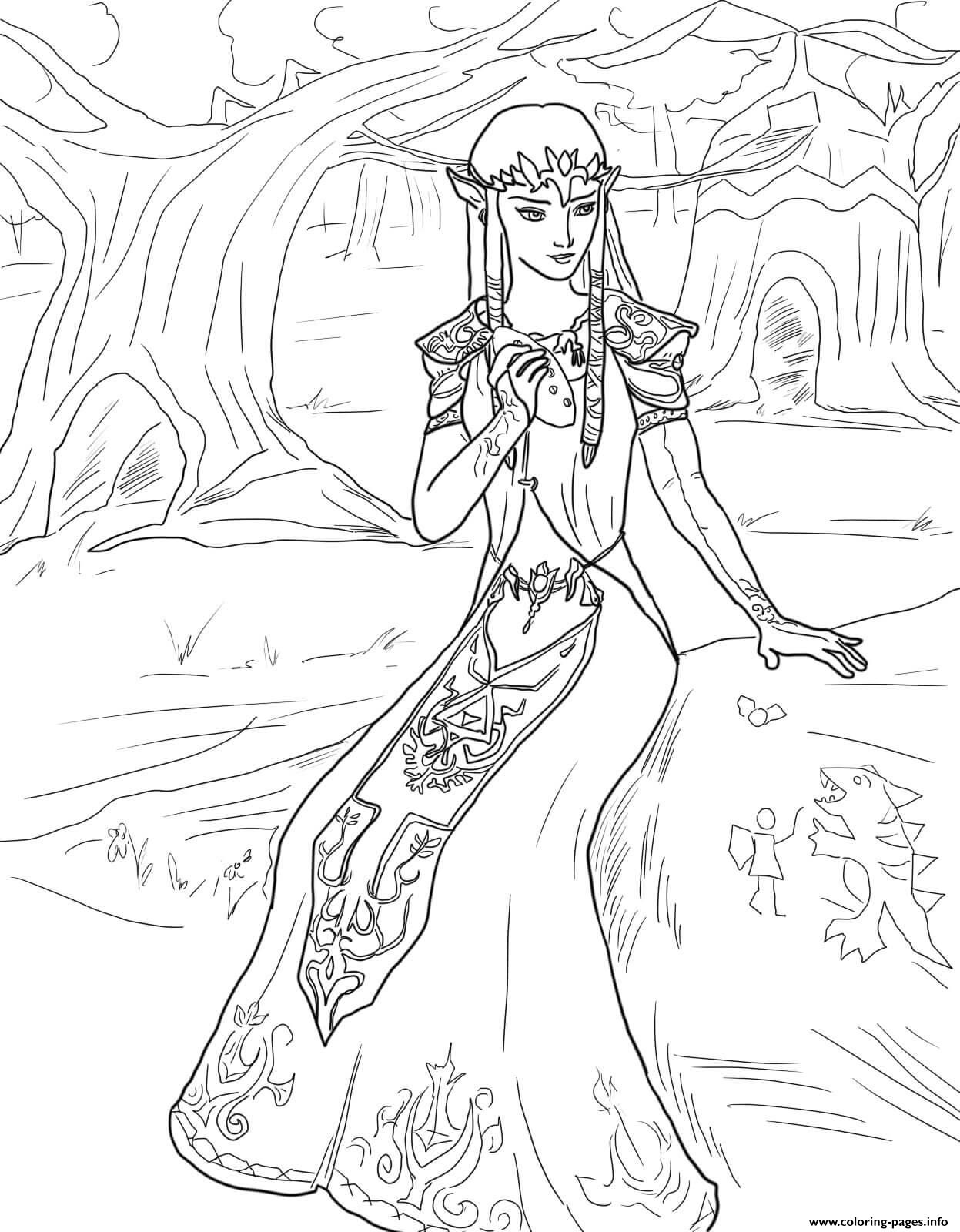 Princess Zelda Coloring Pages Printable