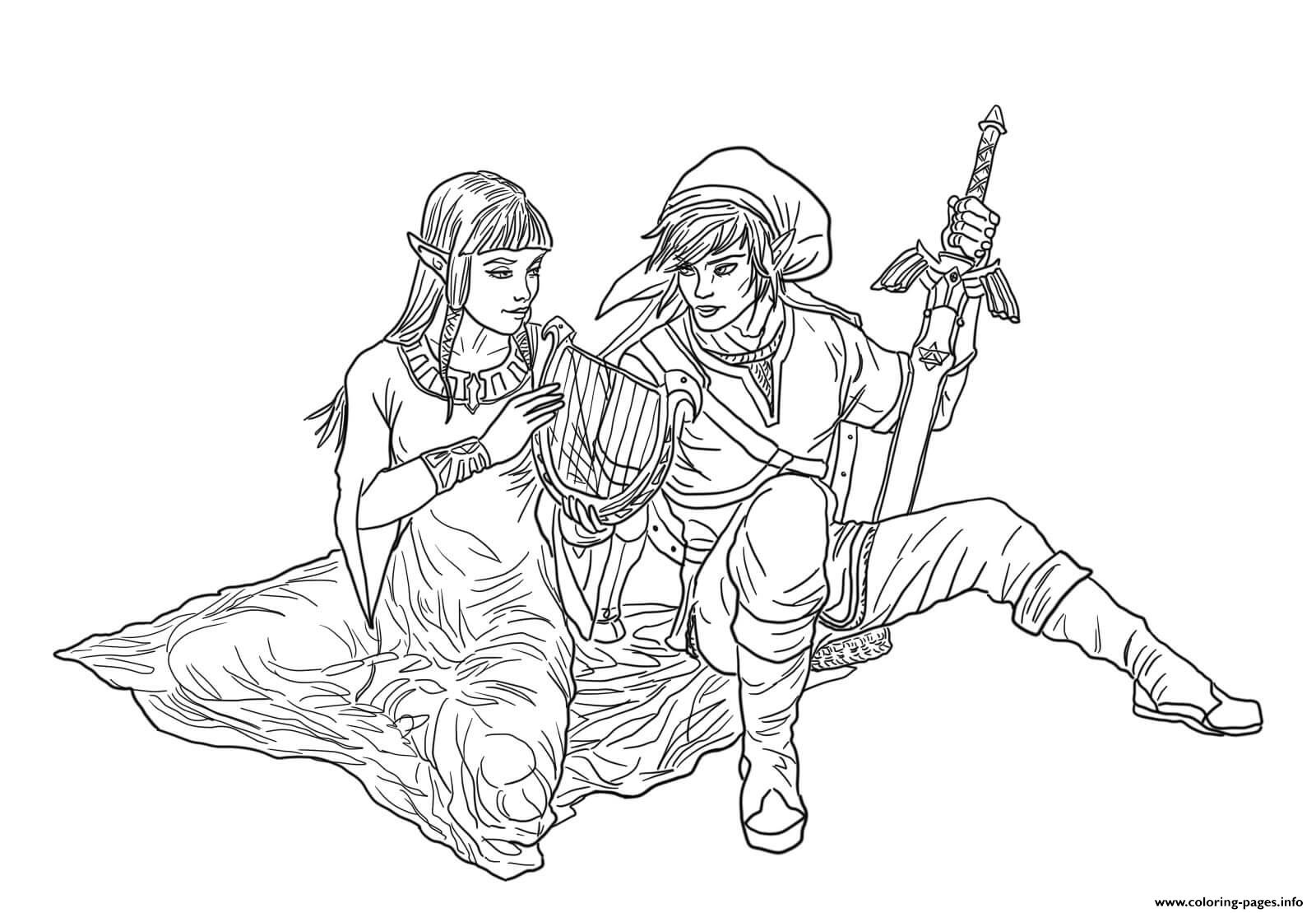 Link and zelda coloring pages printable