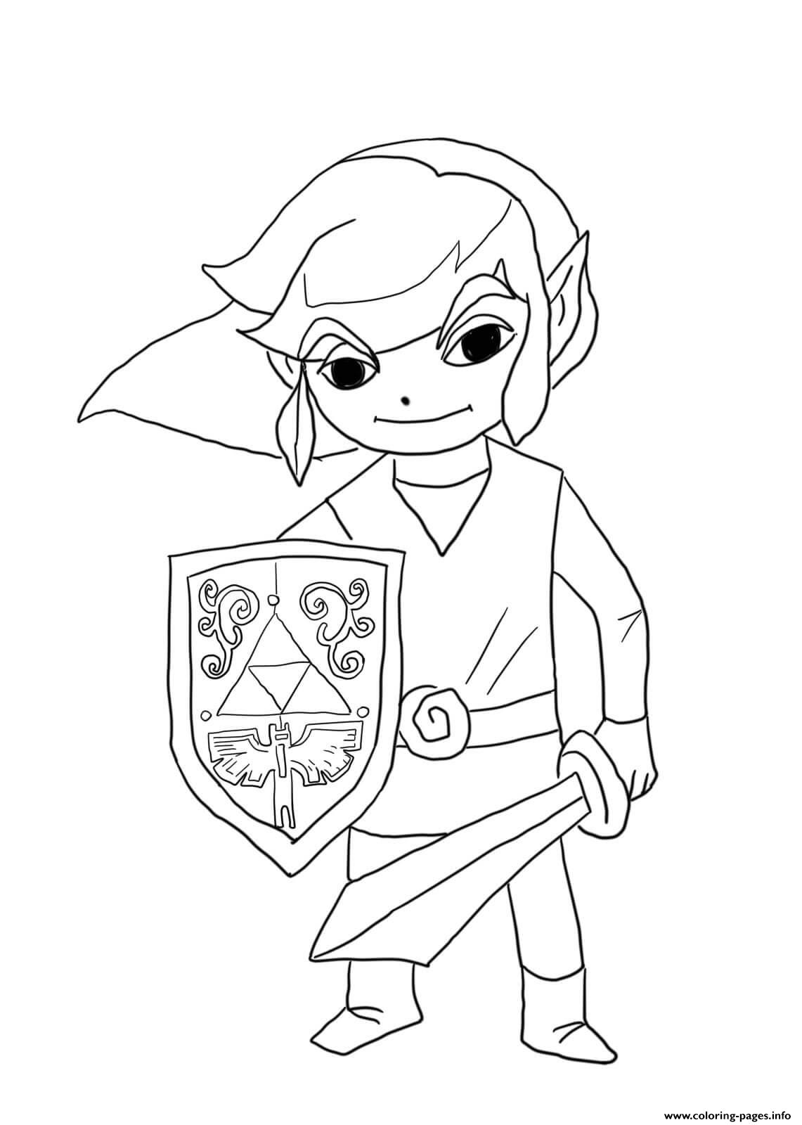 Link From Legend Of Zelda Wind Waker Coloring Pages Printable