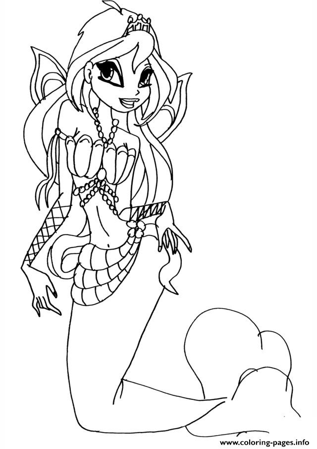 Mermaid Bloom Winx Club Coloring Pages Printable