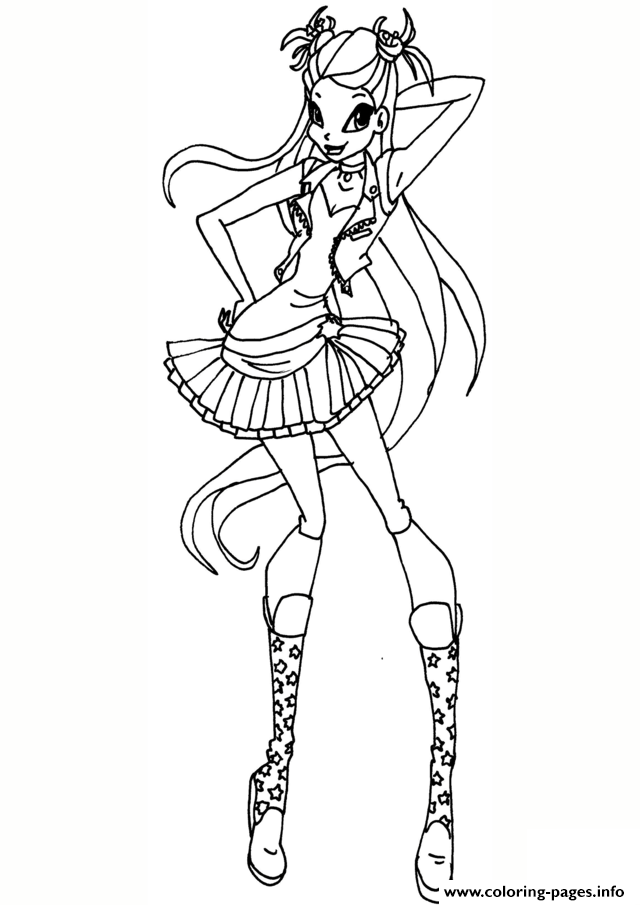 Rock Stella Winx Club Coloring Pages Printable