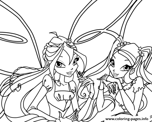 Bloom And Stella Winx Club Coloring Pages Print Download