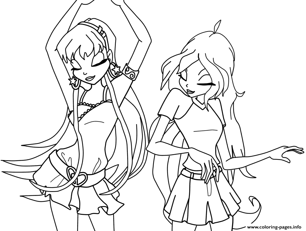 Stella And Bloom Dancing Winx Club Coloring Pages Printable