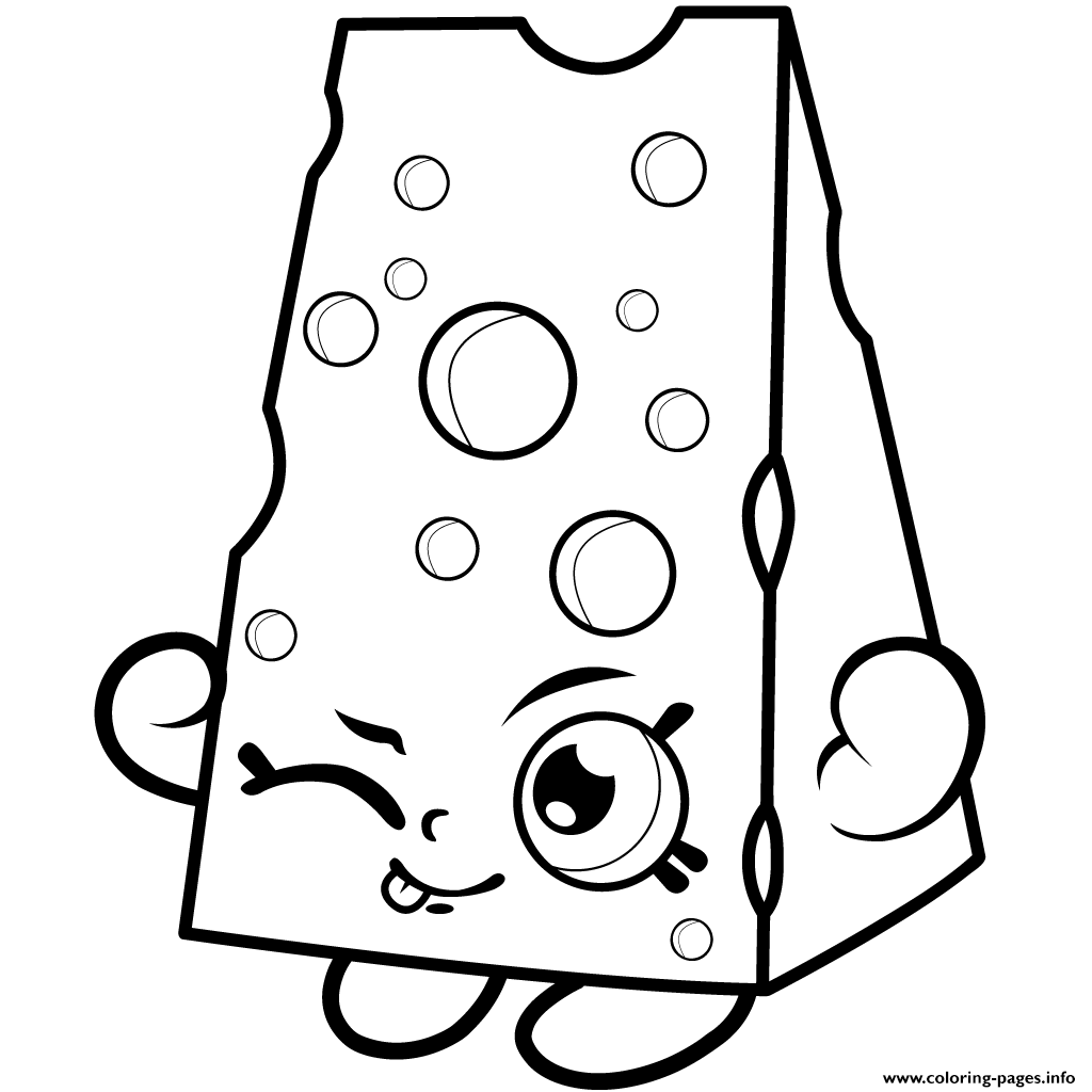 Cartoon Cheese To Colour Coloring