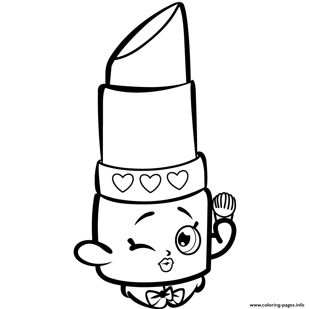 Shopkins color sheets - Beauty Lippy Lips Shopkins Season 1s Coloring Pages Printable