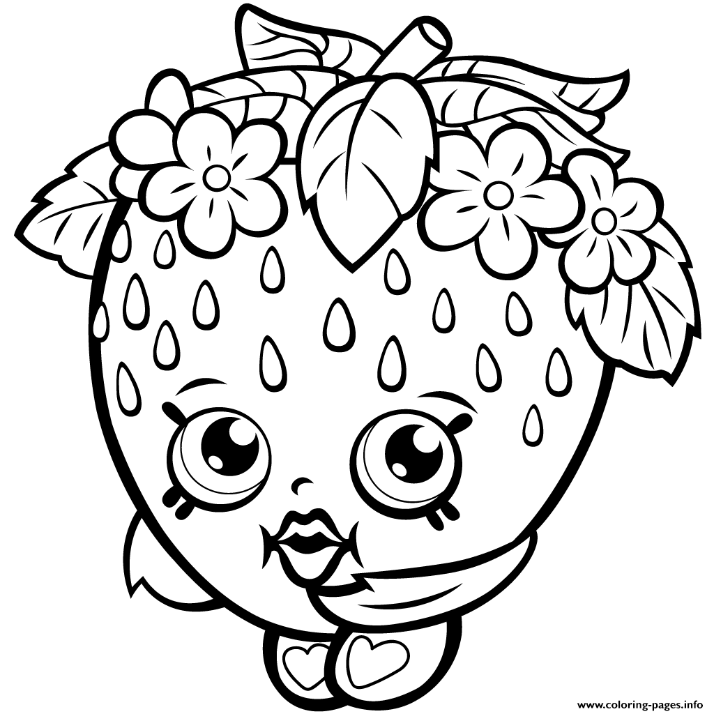 Shopkins color sheets -  Print Strawberry Kiss Season One Shopkins Season 1 Coloring Pages