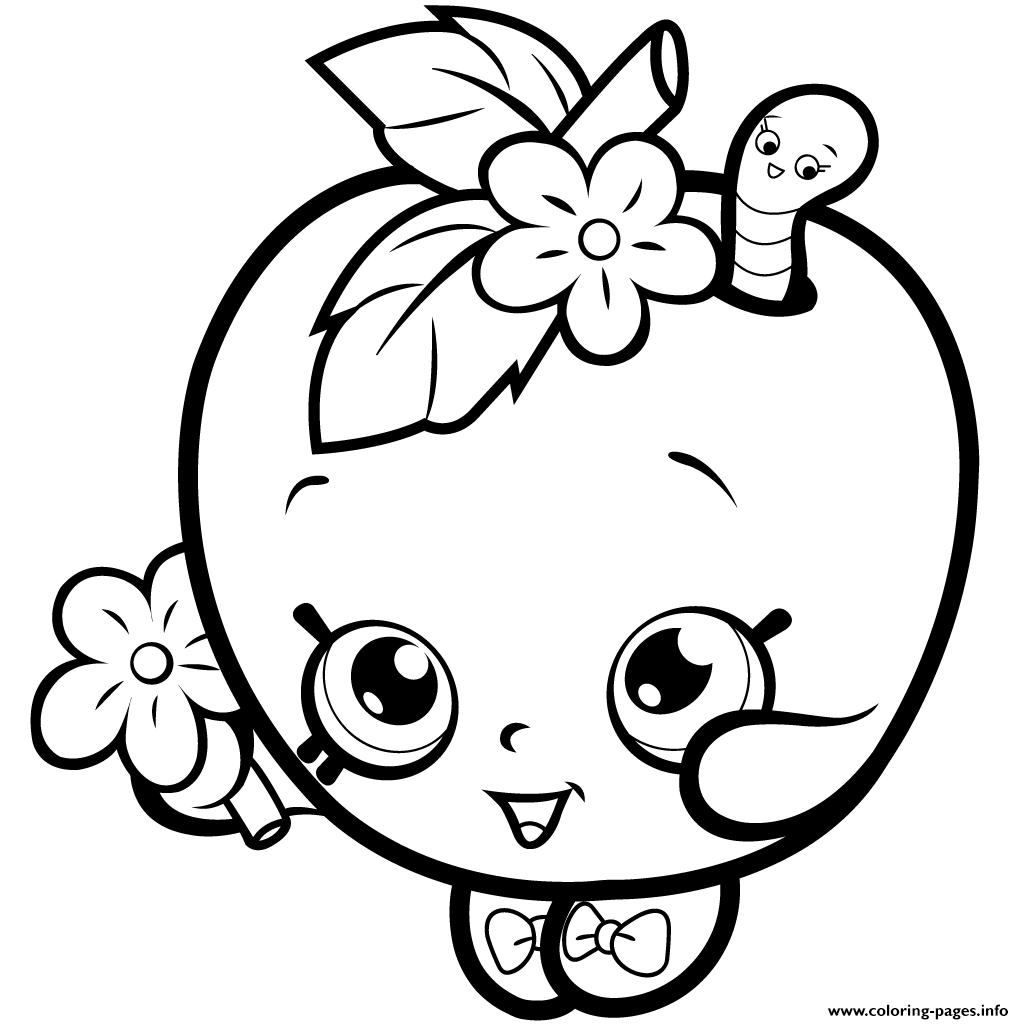 Fruit Apple Blossom Shopkins Season 1 Coloring Pages Printable