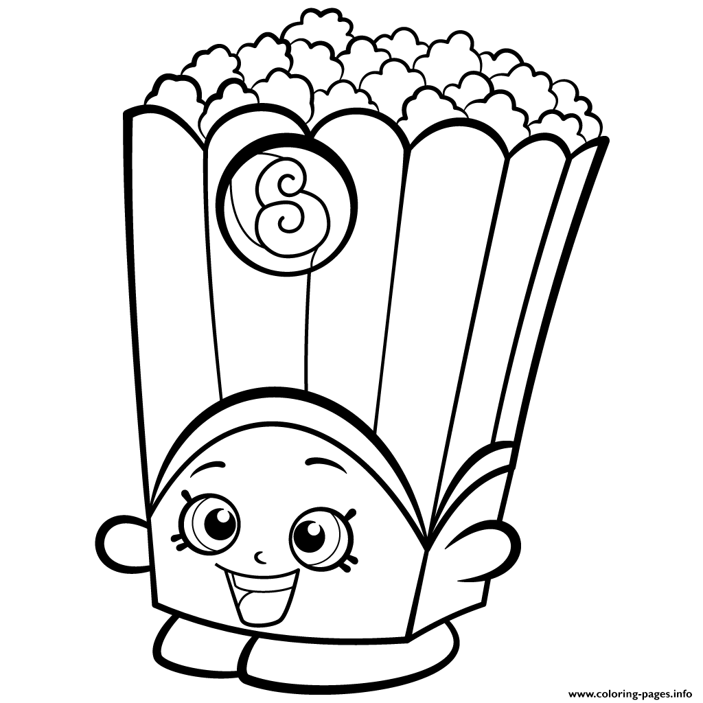 image regarding Printable Shopkins Coloring Pages titled Popcorn Box Poppy Corn Shopkins Time 2 Coloring Internet pages