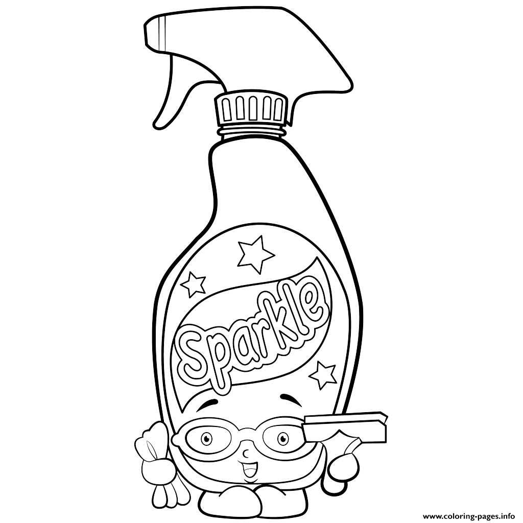 Bottle Of Window Cleaner Squeaky Clean Shopkins Season 2 Coloring Pages