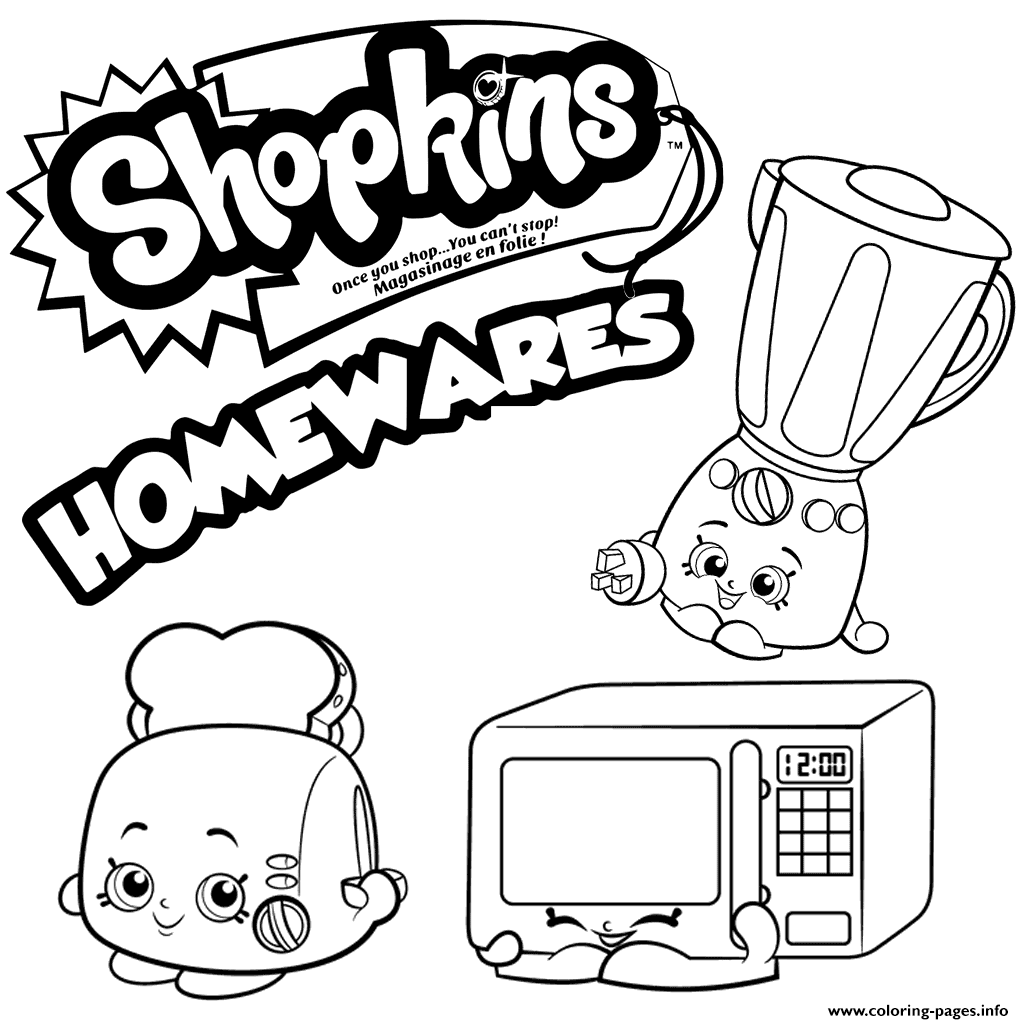 Homewares Collection Shopkins Season 2 Coloring Pages Printable