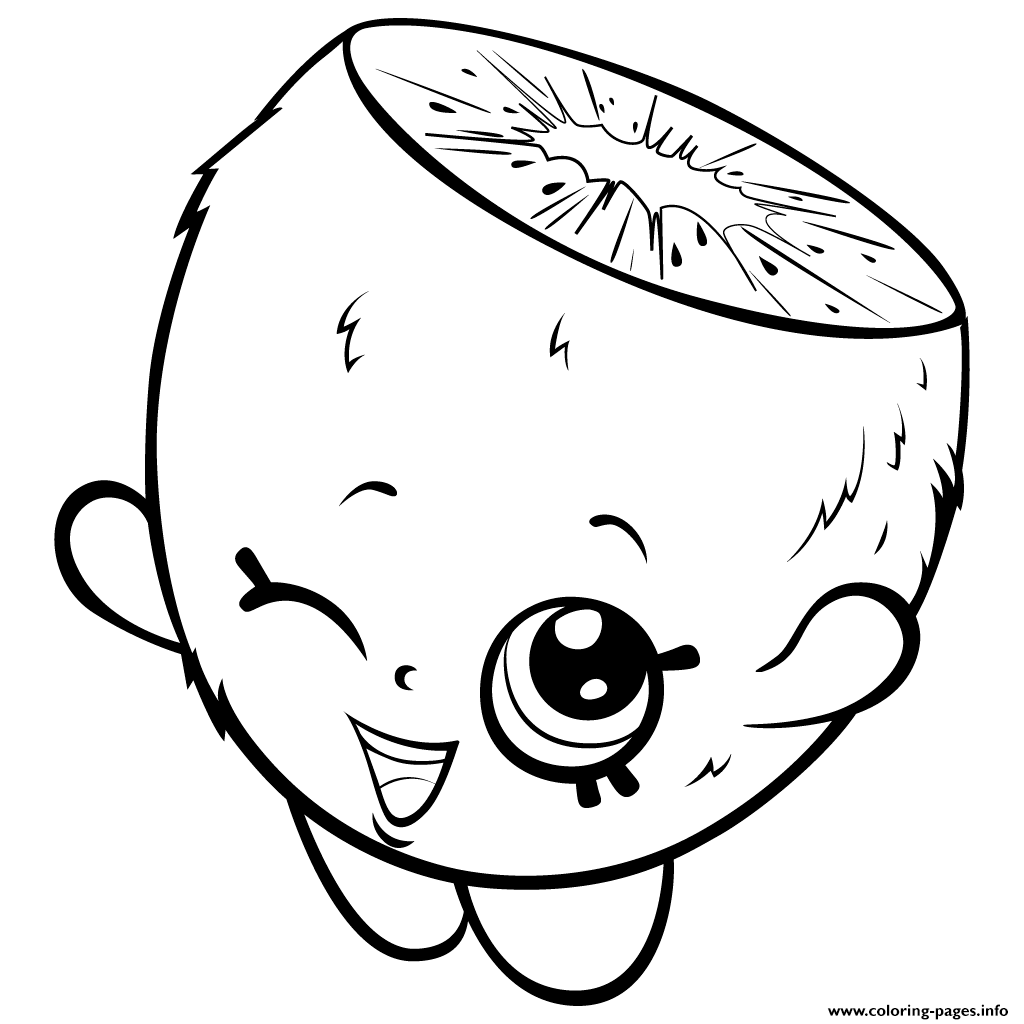 Cute Cartoon Kiwi To Color Shopkins Season 3 Coloring Pages Printable