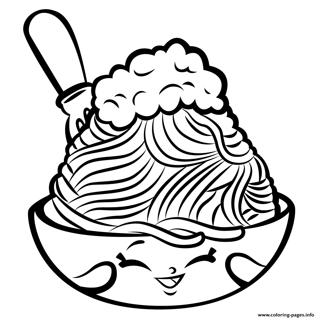 Foods Netti Spaghetti Shopkins Season 3 Coloring Pages