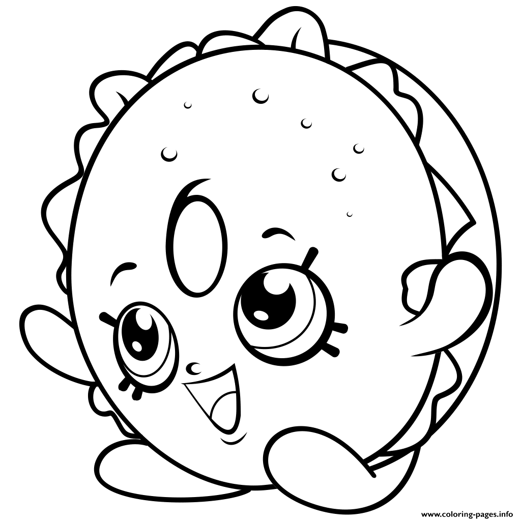 Bagel Sandwiches Shopkins Season 4 Coloring Pages Printable
