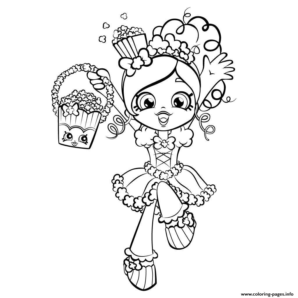 happy shopkins shoppies with popcorn coloring pages printable