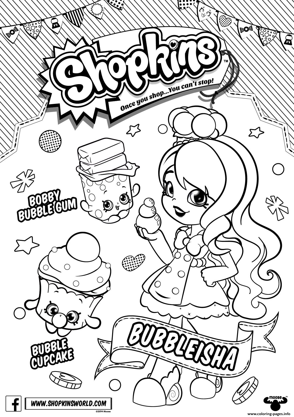 Bubbleisha Shopkins Shoppies With Bubble Gum Coloring Pages Printable