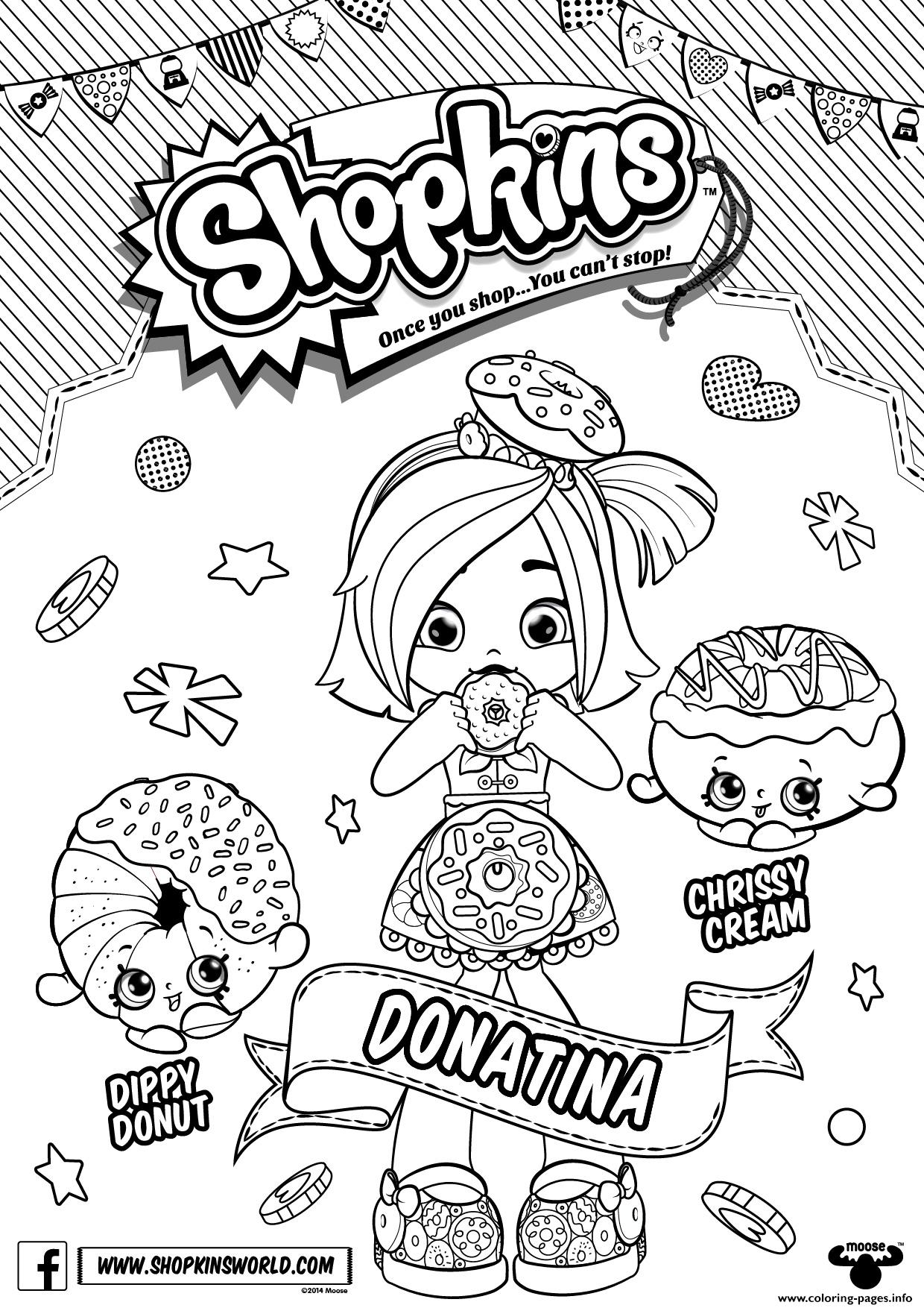 Donatina Shopkins Shoppies Coloring Pages Print Download