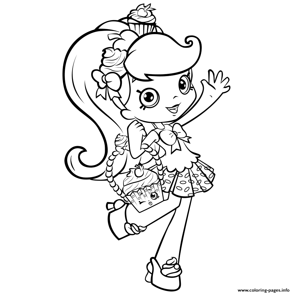 Shopkins Girl Shoppie Say Hi Coloring Pages Printable