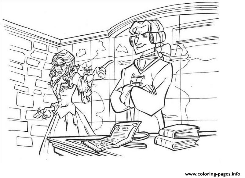 Princess And Her Enemy Pirates Of The Caribbean coloring pages