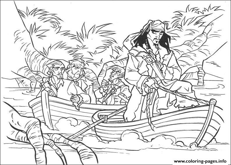 Jack Is Riding A Vessel Pirates Of The Caribbean Coloring Pages Printable