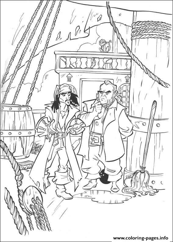 Jack With His Enemy Pirates Of The Caribbean Coloring Pages Printable