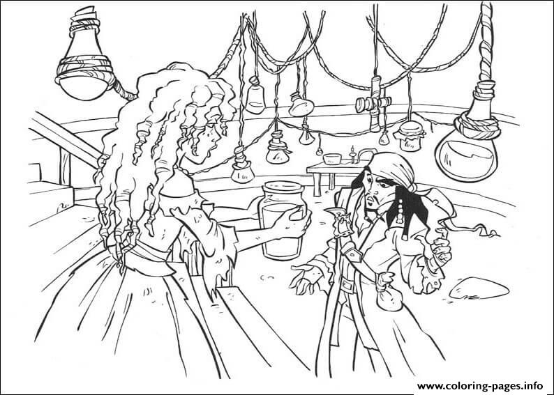 Princess Gives Jack Some Water Pirates Of The Caribbean coloring pages