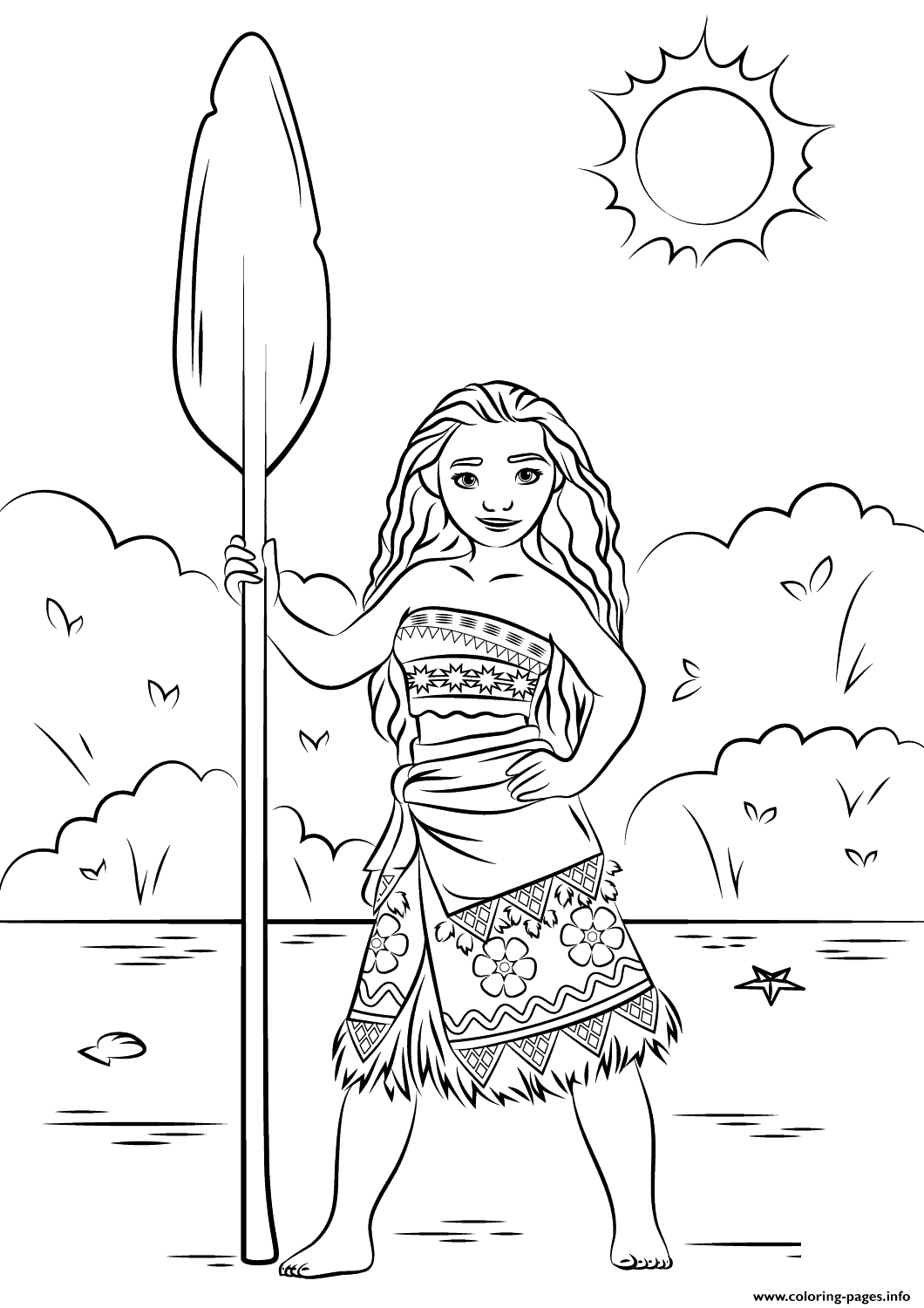 Coloring Pages Princess Pdf : Princess moana disney coloring pages printable