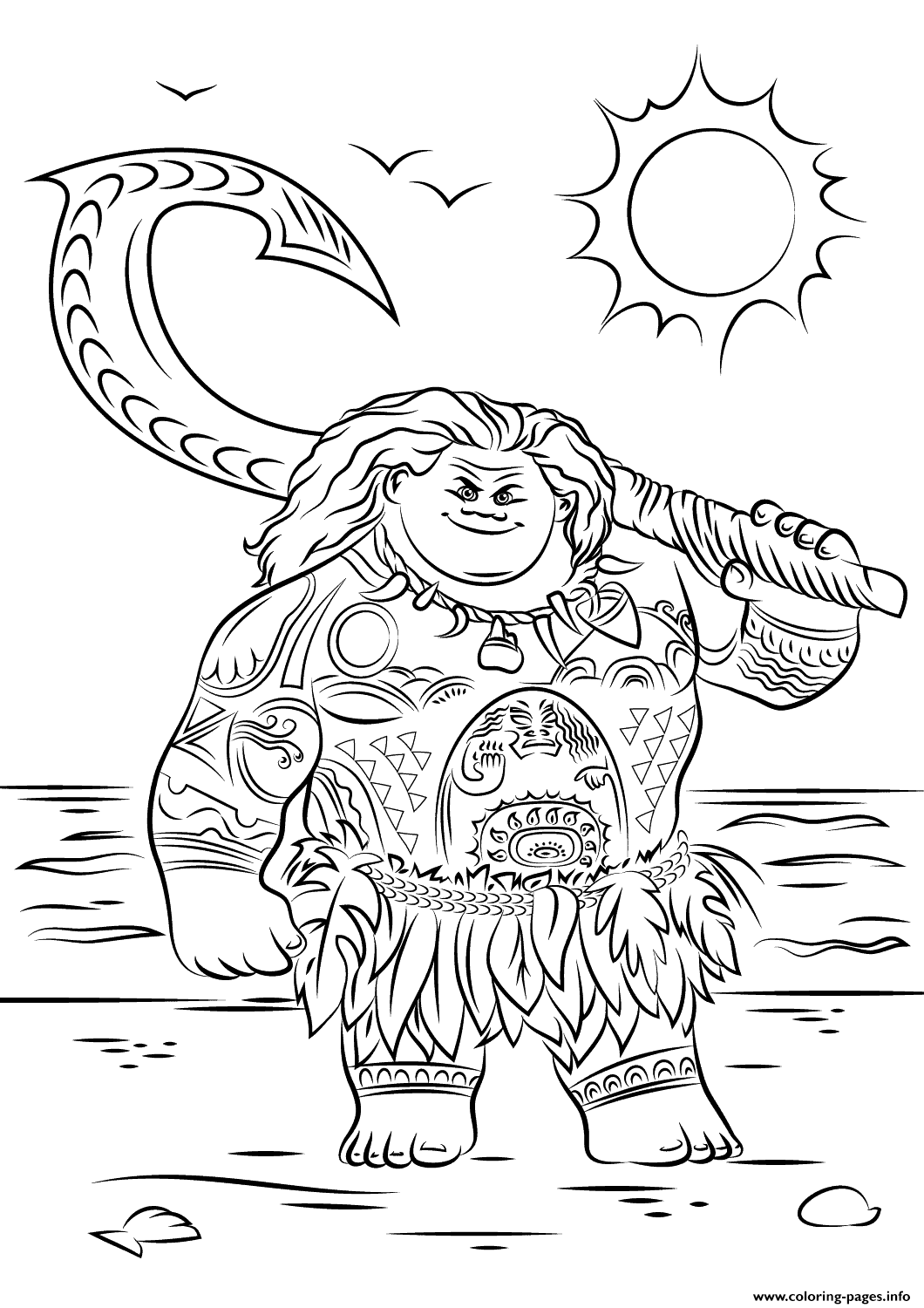 Maui From Moana Disney Coloring Pages Print Download 407 Prints