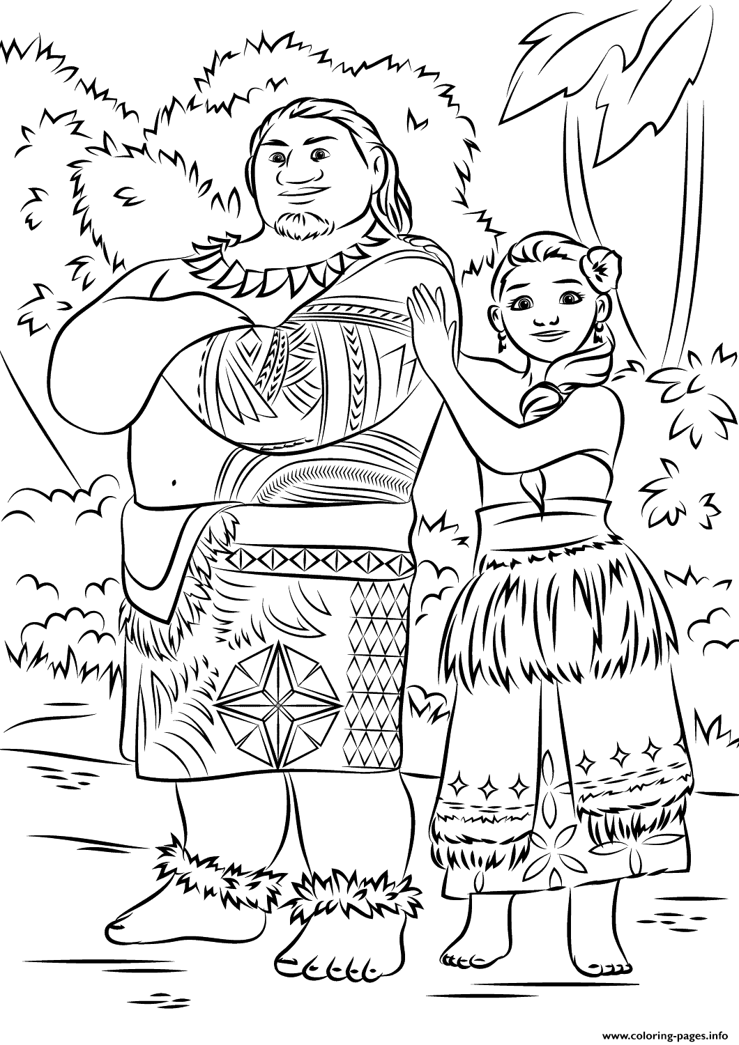 Tui And Sina From Moana Disney Coloring Pages Printable