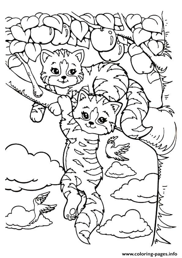 Tiger Lisa Frank Kittens A4 Coloring Pages Printable