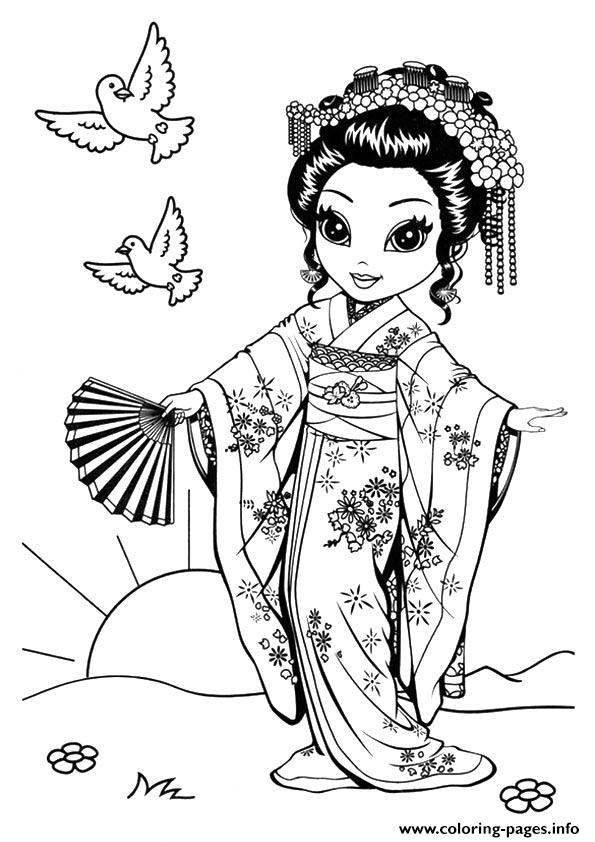 Japanese Kioko A4 coloring pages