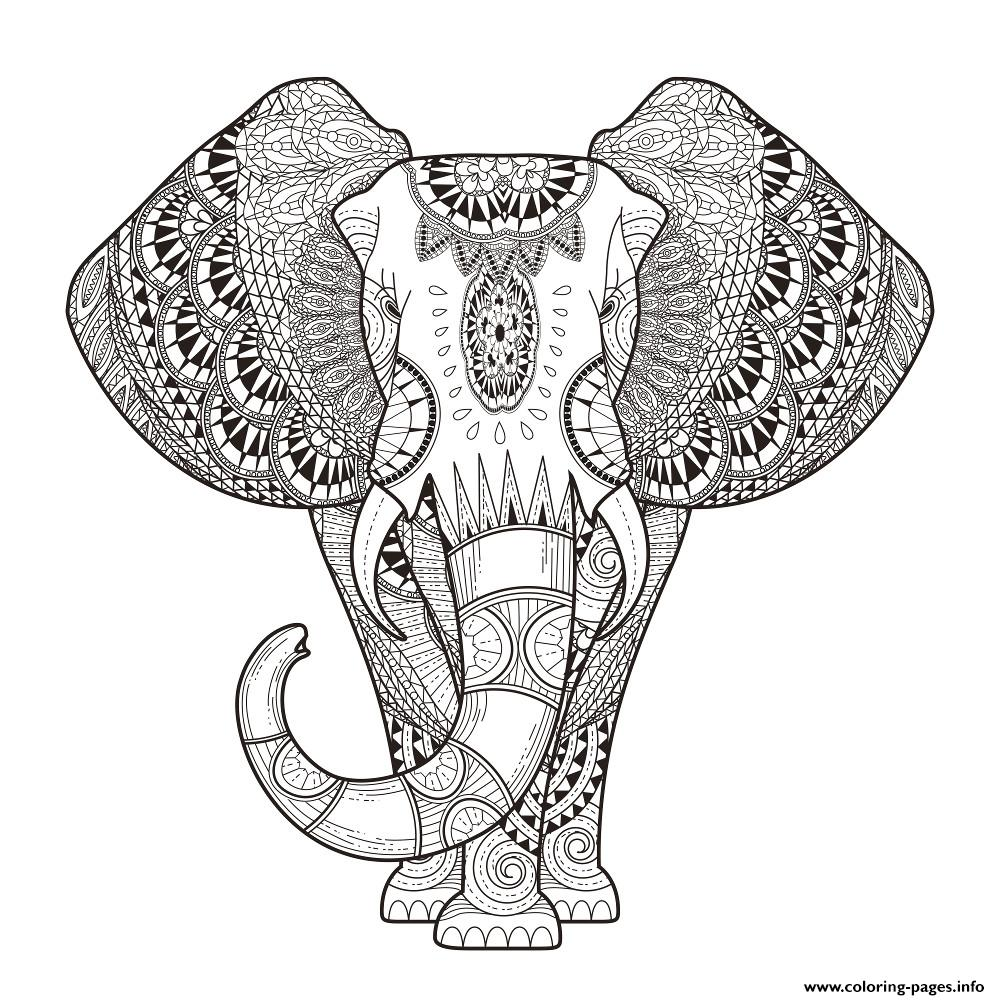 Elephant For Adult Hard Difficult Zen Anti Stress Animal Coloring ...