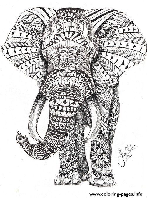elephant for adults color hard difficult coloring pages - Hard Coloring Pages
