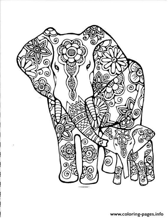 Elephants Abstract Doodle Adult Coloring Pages Printable