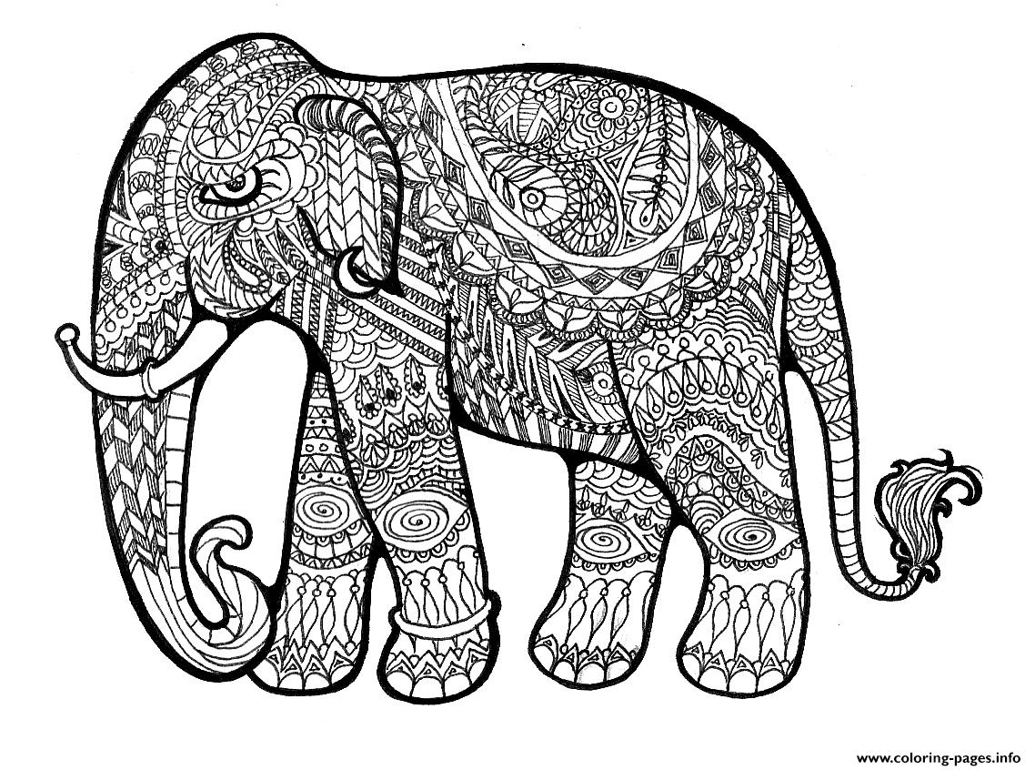 elephant complex for adults print out hard coloring pages - Hard Coloring Pages