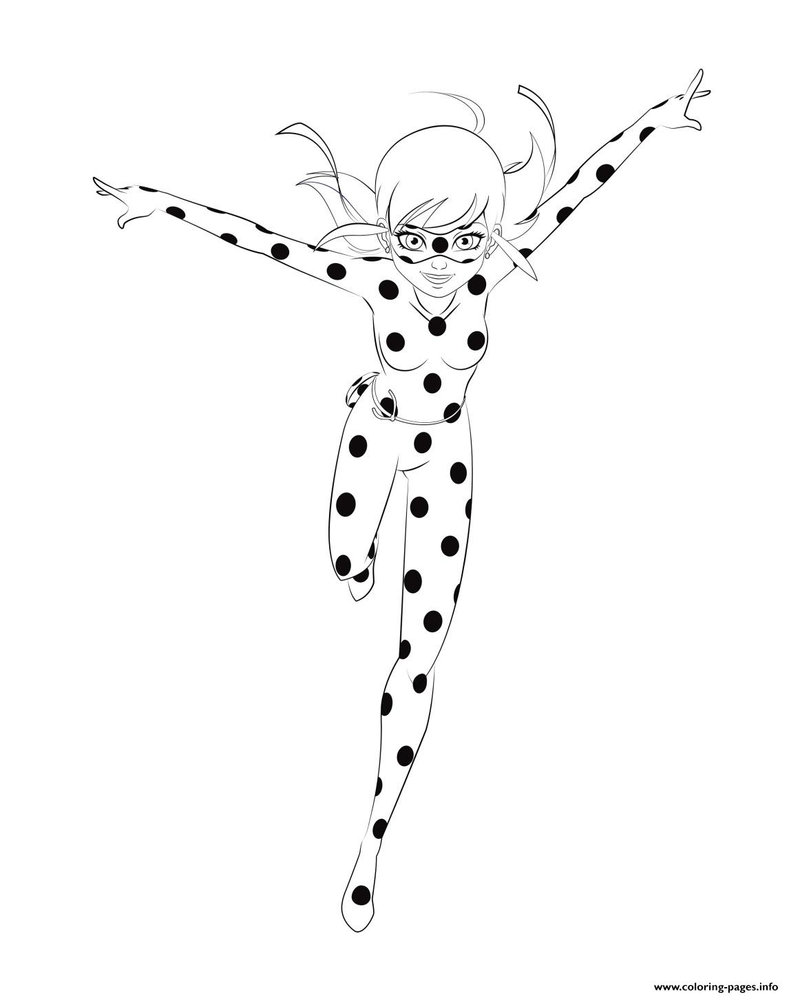 Miraculous Ladybug Is Running Coloring Pages Printable