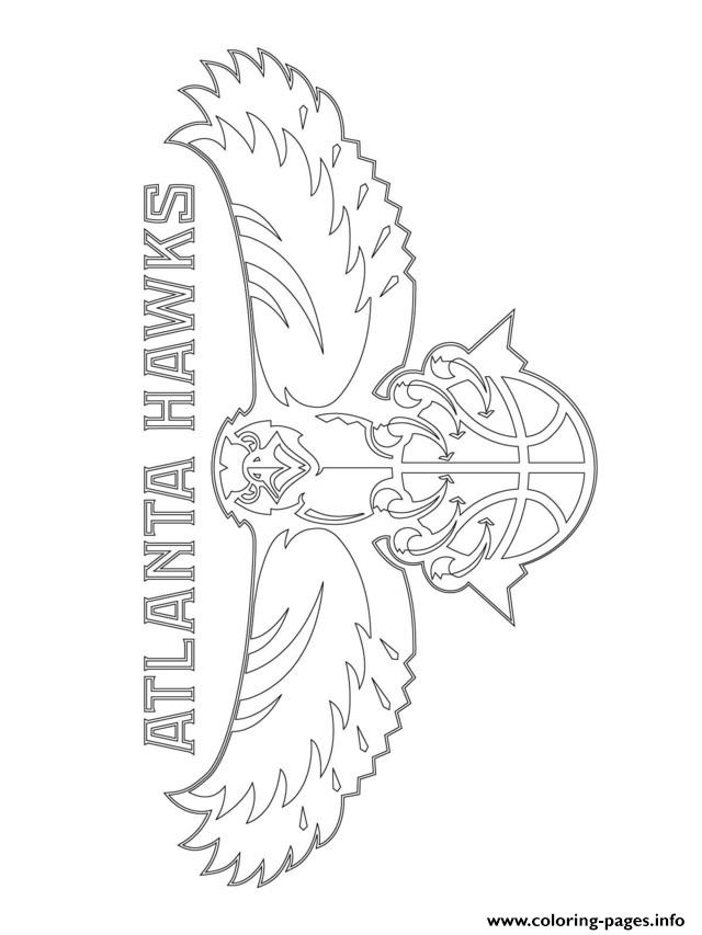 atlanta hawks logo nba sport coloring pages print download - Sports Coloring Sheets To Print