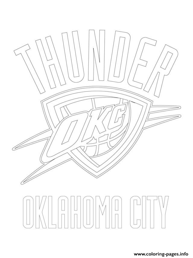 Oklahoma City Thunder Logo Nba Sport Coloring Pages Printable