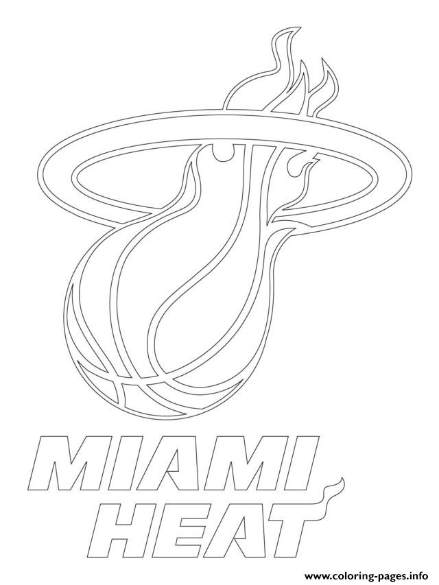 Miami Heat Logo Nba Sport Coloring Pages Printable