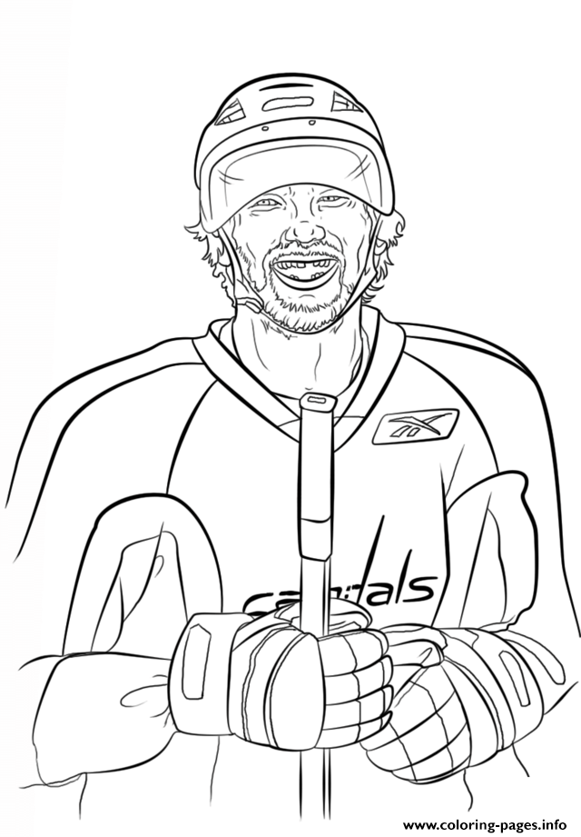 Alex ovechkin nhl hockey sport coloring pages