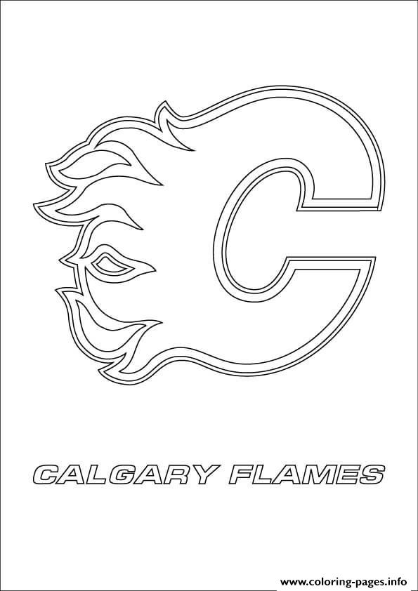 calgary flames logo nhl hockey sport Coloring pages Printable