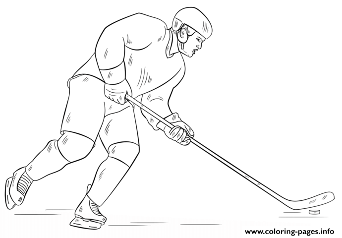 Hockey Player Nhl Hockey Sport Coloring Pages Printable