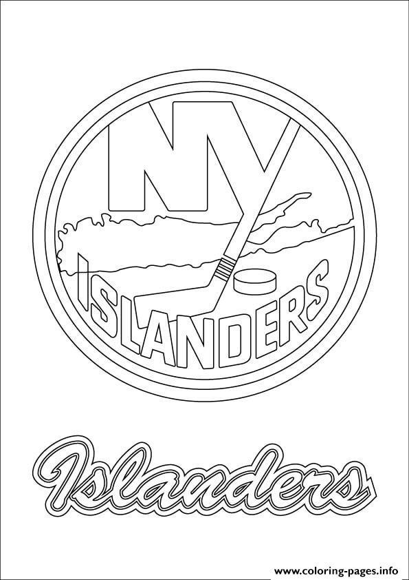 New York Islanders Logo Nhl Hockey Sport Coloring Pages Printable