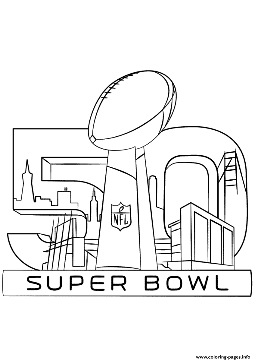Super Bowl 2016 Football Sport Coloring Pages Printable