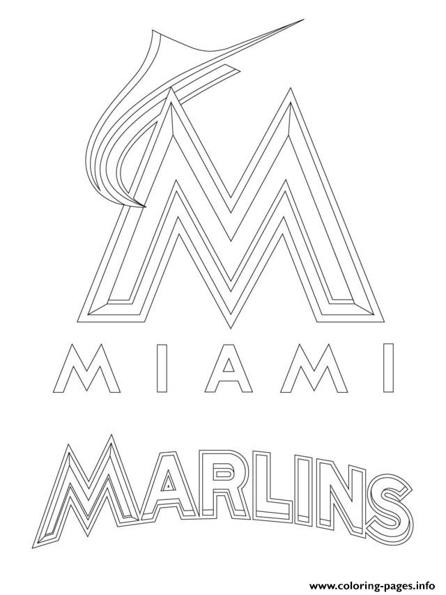 miami marlins logo mlb baseball sport coloring pages - Baseball Coloring Pages Printable