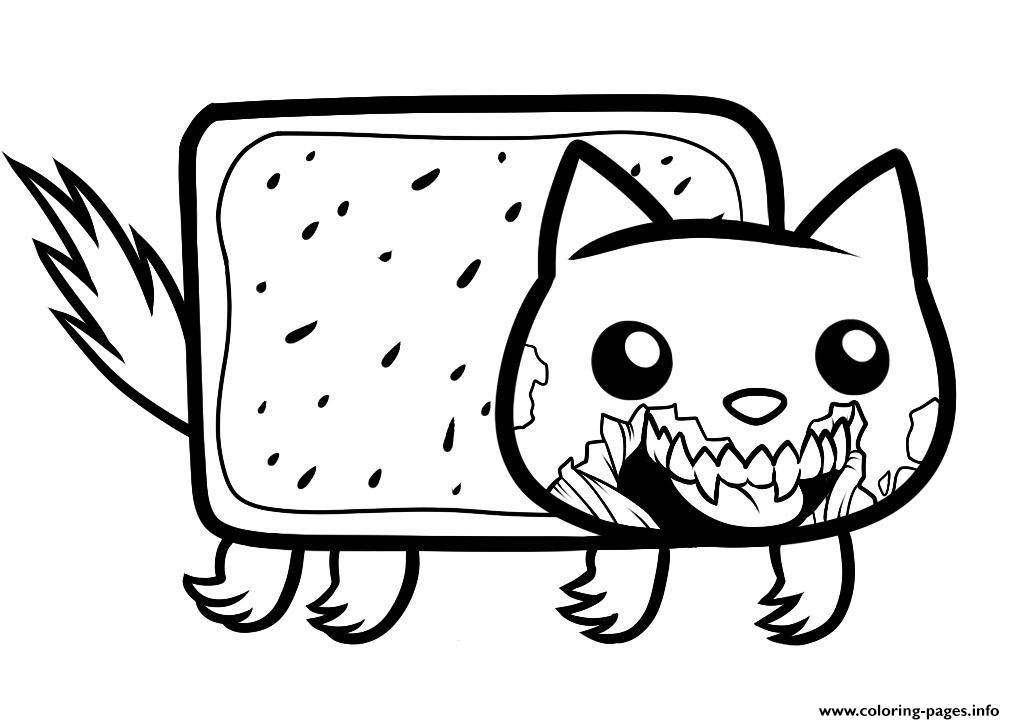 Draw Zombie Nyan Cat Coloring Pages Printable