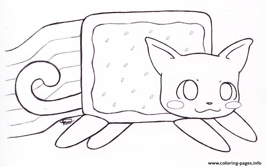 nyan cat coloring pages Nyan Cat By Kitty Coloring Pages Printable nyan cat coloring pages