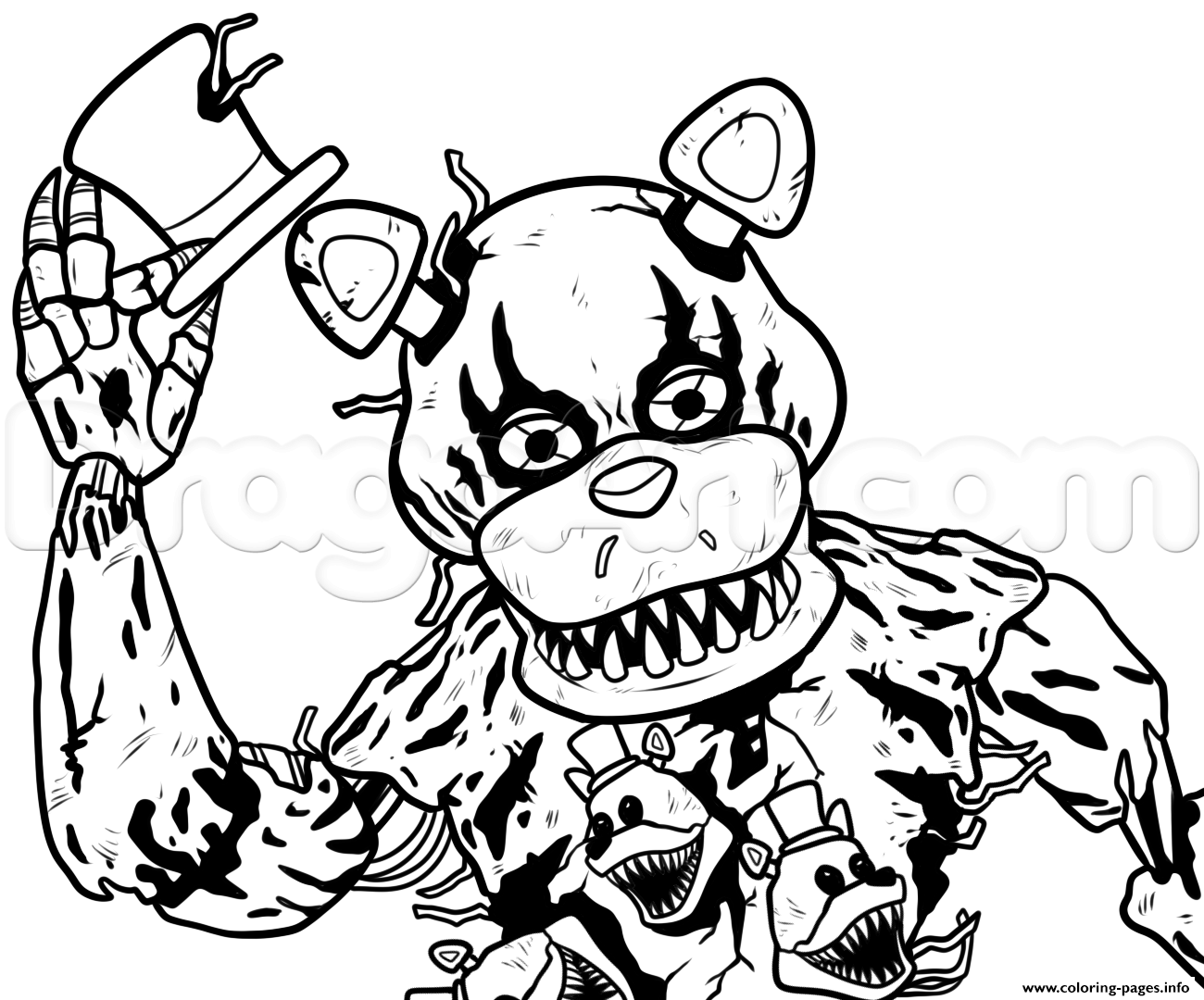 Draw nightmare freddy fazbear fnaf coloring pages printable for Freddy coloring pages